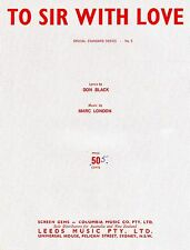 Sheet Musiic: TO SIR WITH LOVE (Lulu) VGC+.