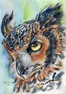 Eagle-Owl-original-Gala-Kostroma-watercolor-bird-painting-forest-nature-hunter