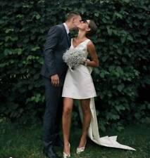 Short simple elegant modest wedding dress bohemian beach boho rustic bridal gown
