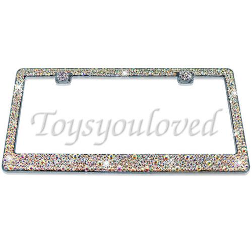 Swarovski Crystals 100/% AB  Aurora Borialis Crystal Bling License Plate Frame