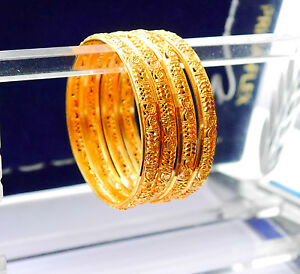 Image Is Loading Real Looking 22ct Gold Plated Bangles Indian Set
