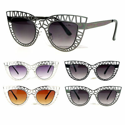 SA106 Womens Lattice Wire Frame Unique Cat Eye Runway Fashion Sunglasses