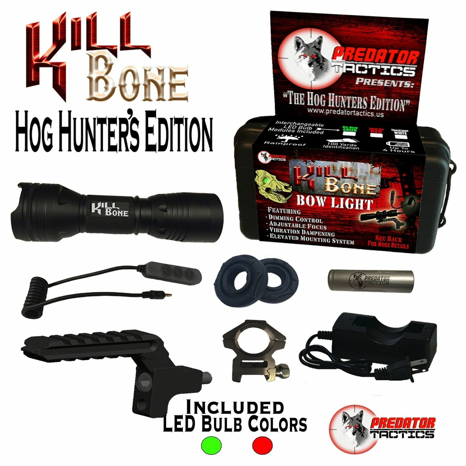 PREDATOR TACTICS KILLBONE HOG HUNTERS EDITION DOUBLE LED KIT GREEN RED HH-97385