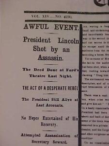 VINTAGE NEWSPAPER HEADLINE ~CIVIL WAR PRESIDENT LINCOLN GUN SHOT MURDERED DEATH