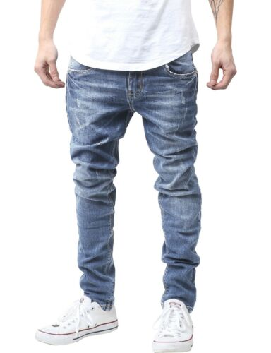 Mens Washed JEAN SLIM Fit Skinny Denim Pants Ripped Hip Hop Casual Fashion