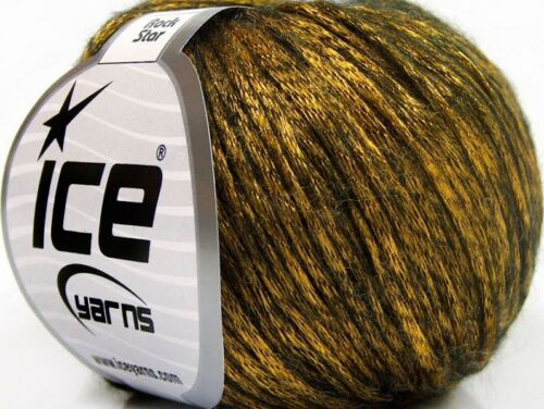 Rock Star 58237 Yellow-Gold Black Shiny Soft Nylon Merino Wool Yarn 50g 125y