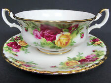 OLD COUNTRY ROSES SOUP COUPE & SAUCER, 1st QUALITY, VGC, ROYAL ALBERT