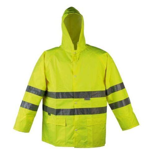 HI VIZ VIS XXXL RAIN COAT JACKET HIGH QUALITY WORKWEAR 100/% WATERPROOF YELLOW