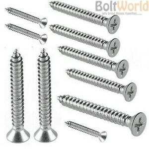 """Qty 100 Countersunk 8g 4.2mm x 3//4/"""" 19mm Marine Self Tapping Screw 316 SS A4"""