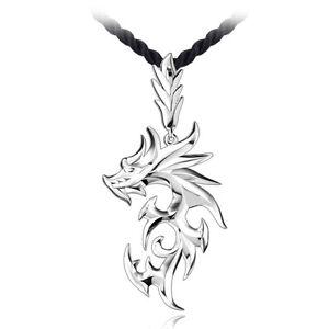 Silber-ueberzogene-Edelstahl-Drache-Anhaenger-Maenner-Halskette-mit-Leder-Kett-E6P0