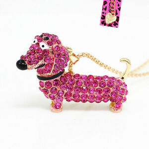 Betsey-Johnson-Crystal-Rhinestone-Dachshunds-Dog-Pendant-Chain-Necklace-Gift