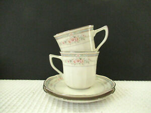 Noritake-Rothschild-7293-Set-of-2-Flat-8oz-Coffee-Cup-amp-Saucers-Preowned