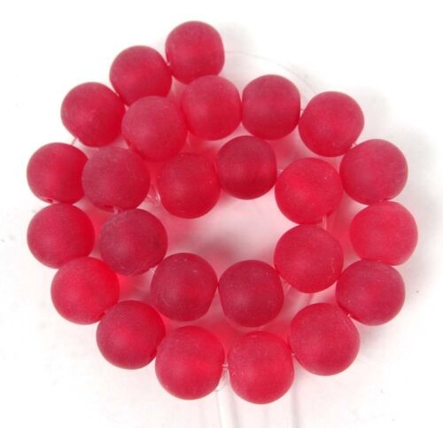 25 Frosted Sea Glass Round Siam Ruby 10mm Rocaille Beads Matte