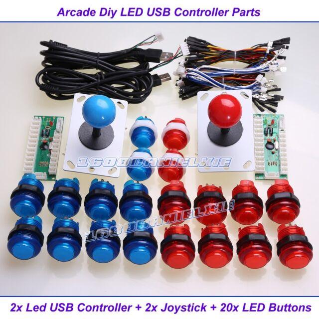 2 Set Arcade Control Kits 2Pin Joystick + 5V LED Illuminated Push Buttons Mame