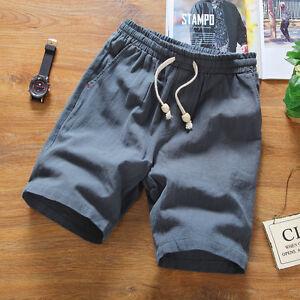 Mens-Linen-Elastic-Waist-Shorts-Cotton-Beach-Half-Pants-Solid-Soft-Oversize-Slim