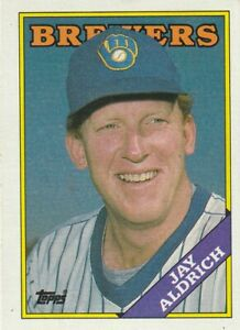 FREE SHIPPING-MINT-1988 Topps (BREWERS) #616 Jay Aldrich PLUS BONUS CARDS