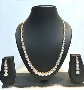 New-Indian-Bollywood-Ethnic-CZ-Gold-Plated-Fashion-Wedding-Jewelry-Necklace-Set