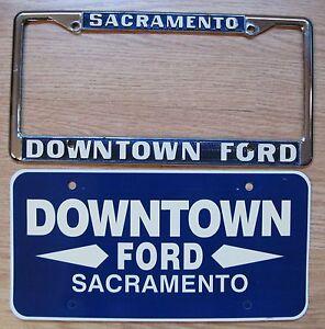 Vintage-Ford-Dealer-license-metal-frame-Downtown-Ford-Sacramento-California