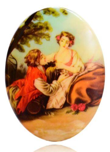 10 Vintage Couple Renaissance  Fine Art Cameo Cabochon 40 mm