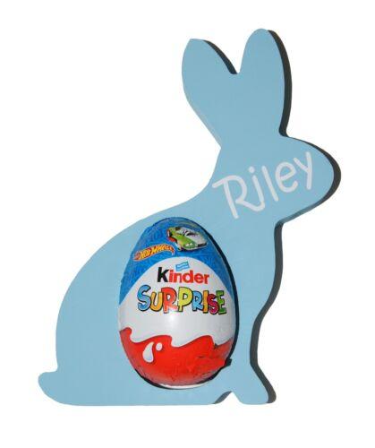 Personalised Blue Easter Bunny Kinder Egg Holder
