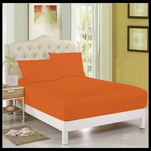 ORANGE-Plain-Dyed-Poly-Cotton-Fitted-Flat-Valance-Bed-Sheet-Pillow-Case