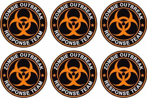 "6-2/"" x 2/"" Zombie Response Unit Decal Vinyl Wheel Center Cap Sticker Orange"