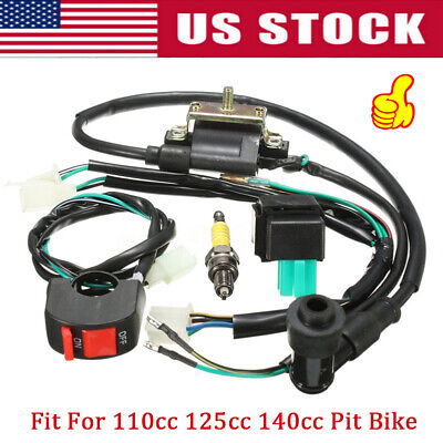 For Pit Bike 110cc 125cc 140cc Wiring Loom On Off Switch Coil CDI Spark Plug Kit