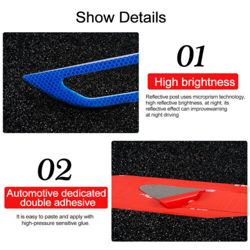Set Blue Car Universal Fender Reflective Sticker Security Warning Graphic Decal