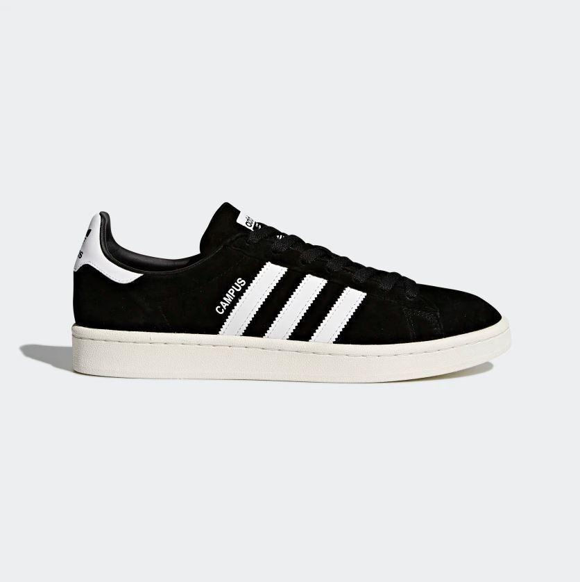 Zapatos para hombre-Campus Adidas-Vieja Escuela Zapatillas-Cuero-Negro BZ0084