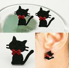 RETRO STYLE CUTE BLACK CATS WITH BOWS STUD EARRINGS 1 PAIR KITSCH ROCKABILLY CAT