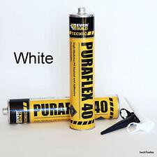 WHITE Puraflex Adhesive Sealant Car Body Kit Bond Glue Everbuild Metal Marine