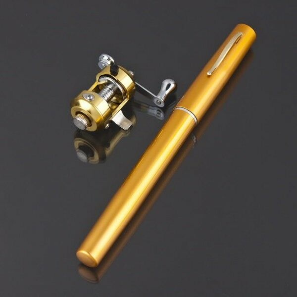 Mini Yellow Portable Pen Shape Aluminum Alloy Fish Fishing Rod Pole+Reel Combos