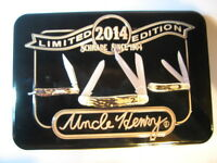Uncle Henry-schrade Limited 2014 Edition Knife Set--never Sharpened In Metal Box