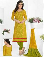 Radiant Yellow Cotton Embroidered Salwar Suit Dress Material D.NO NKT1186