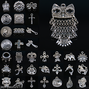 10-50-100Pcs-Tibetan-Silver-Pendants-Charms-Necklace-Bracelet-Findings-Craft-DIY