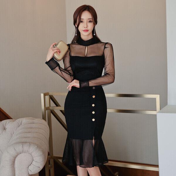 8069ffcb308d Elegante vestito tubino morbido nero trasparente evento 5146 comodo abito  nvqdqw8073-Tailleur e abiti sartoriali
