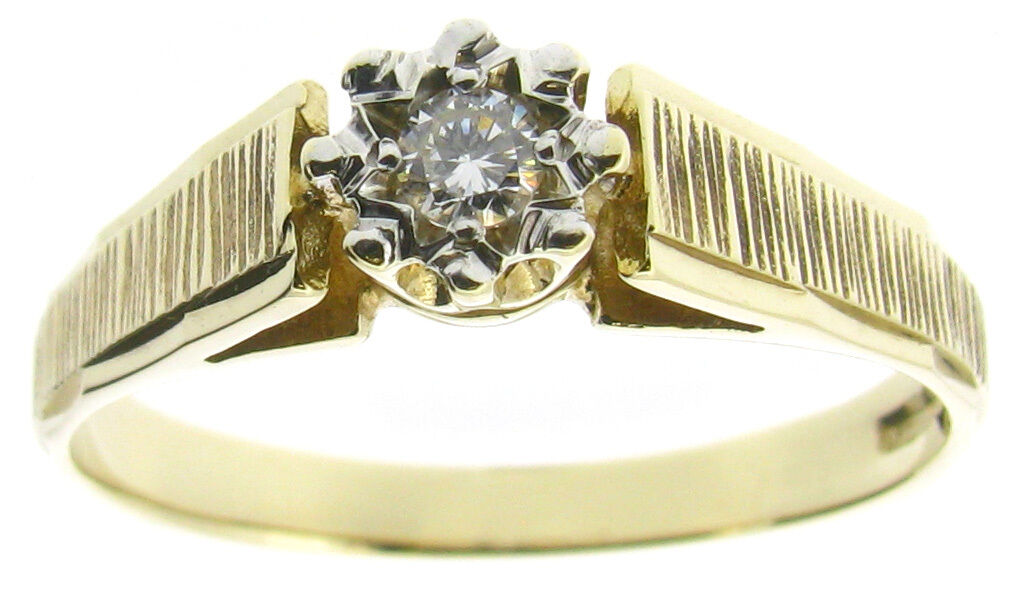 Ladies diamonds rings solitaire engagement size P round 0.10ct stone 9ct gold