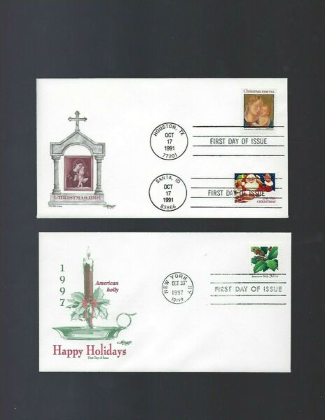 2 First Day Cover Etats-unis L'amérique Noël Christian Holiday Greetings Artisanat Exquis;