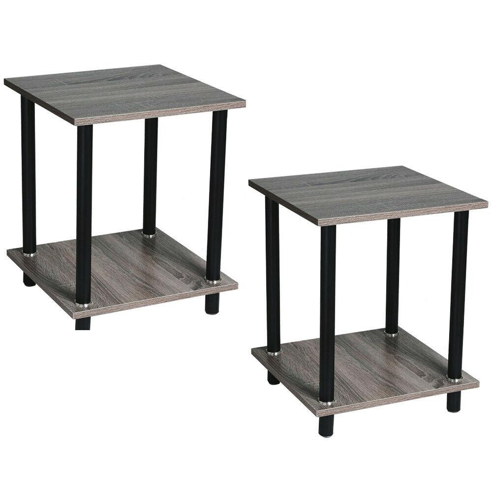 Zimtown Ktaxon Set Of 2 Black Bedroom Night Stand Bedside Table
