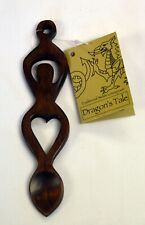Carved HEART & HORSESHOE design polished wood WELSH LOVE SPOON,  Wales / Cymru