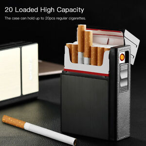 20-Loaded-Cigarette-Case-Dispenser-Tobacco-Storage-Box-Holder-with-USB-Lighter