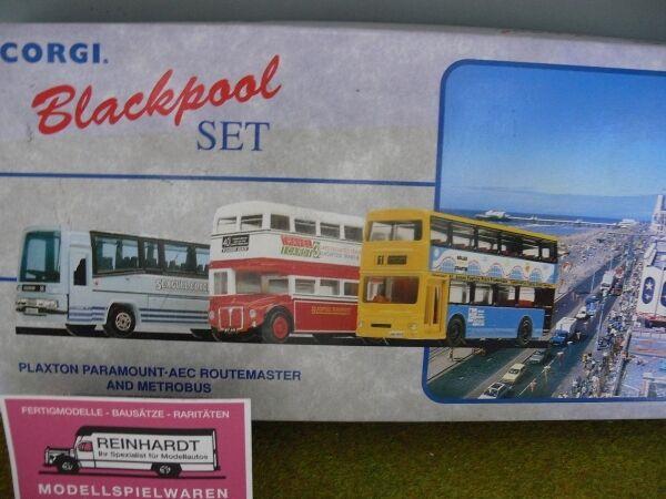 1 50 Corgi negropool set Plaxton paramount-aec Route Master y Metrobus 97064