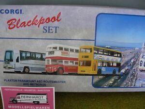 1-50-Corgi-Blackpool-Set-Plaxton-Paramount-AEC-Routemaster-und-Metrobus-97064