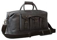Uberbag Gobi Graphite Grey/ Black Real Leather Holdall, Travel Duffle Bag,Cabin