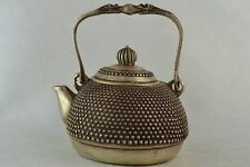 Collectibles Old Decorated Handwork White copper Carving Dragon Portable Teapot