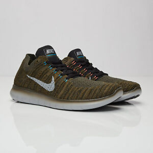 6331520b4ff3 Men s NIKE Free RN Flyknit RUNNING Shoes Size 8.5-13 Khaki Green ...