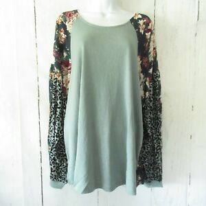 New-Umgee-Top-2X-Dusty-Mint-Animal-Floral-Puff-Sleeve-Boho-Peasant-Plus-Size