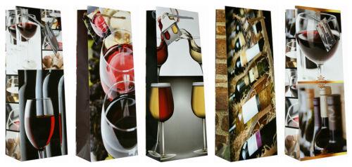 10 Geschenktüten Flaschentüten 36x12,5x9 Weinmotive Papier-Tragetasche 99-3004