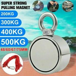 UK 67mm 300KG Double Side Metal Magnet Detector Strong Powerful Fishing 10m Rope
