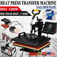 8 In 1 Heat Press Machine Swing Away T Shirt Mug Hat 12x15 Digital Transfer